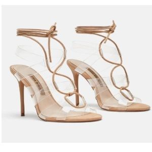 ZARA Heeled Vinyl Tie Sandals